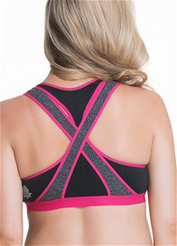 Cake Maternity - Lotus Yoga Nursing Bra in Black/Fuchsia