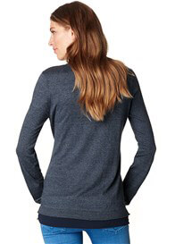 Esprit - Knit Jumper w Blouse Hem in Night Blue