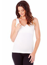 Ingrid & Isabel - Seamless Crossover Nursing Tank In White