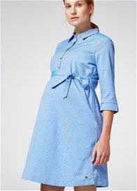 Esprit - Chambray Polka Dot Shirt Dress - ON SALE