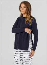 Legoe - Bateau Crew Nursing Knit Jumper in Navy