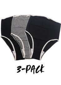 QueenBee® - Evelina 3-pack Briefs in Black Stripes