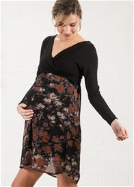 Maternal America - Crossover Dress in Black/Lilac Floral