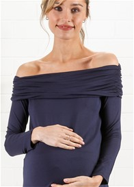 Maternal America - Off Shoulder Top in Navy