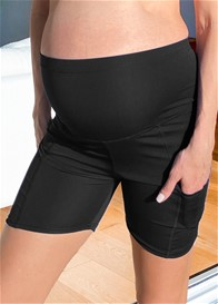 QueenBee® - Ellyse Maternity Active Bike Shorts in Black