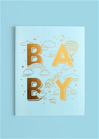 Fox & Fallow - Baby Universe Greeting Card in Aqua