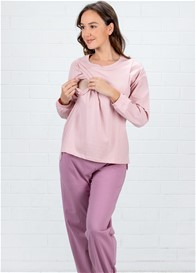 Lait & Co - Fosette Nursing Lounge PJ Set in Dusty Pink