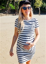 Lait & Co - Peronne Nursing Dress in White/Black Stripes