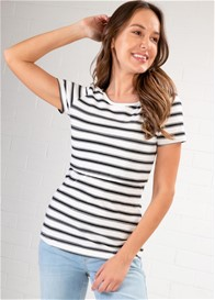 Lait & Co - Trinite Nursing Tee in White/Black Stripes