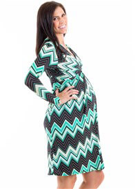 Leota - Mint Chevron Dress