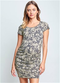 Maternal America - Belly Ruched Nursing Dress in Ditsy Floral
