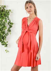 Maternal America - Front Tie Dress in Coral - ON SALE