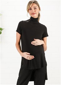 Maternal America - Hi-Lo Turtle Neck Top in Black
