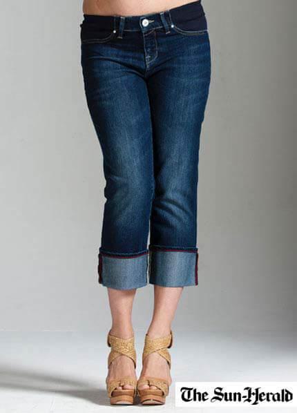 Queen Bee Nicky Azur Cuffed Maternity Capri Jeans by Mavi