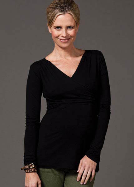 Queen Bee Zane Nursing Top in Black with Silver by Quack Nursingwear