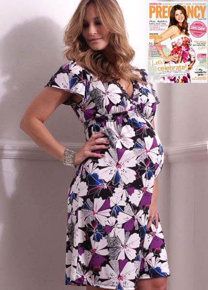 Queen Bee Sarah Flutter Maternity Dress in Floral Print by Everly Grey