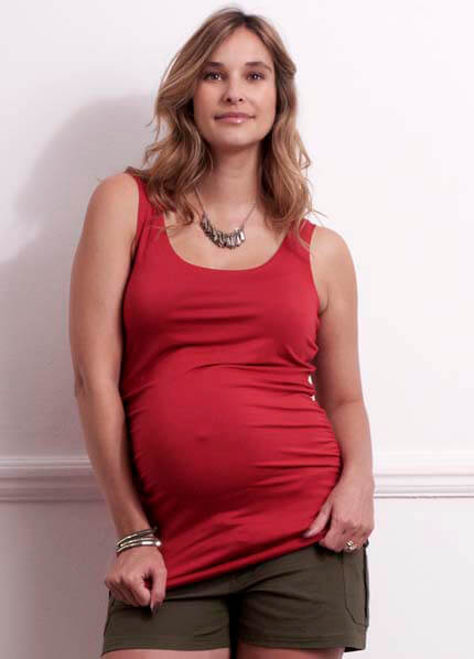 Queen Bee Poppy Red Miracle Maternity Tank Top by Trimester Clothing