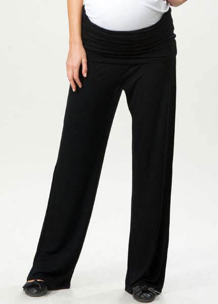Queen Bee Rhea Black Jersey Foldover Trousers - Crave | Queen Bee