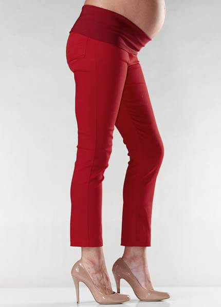 Queen Bee Audrey Red Maternity Capris by Soon Maternity