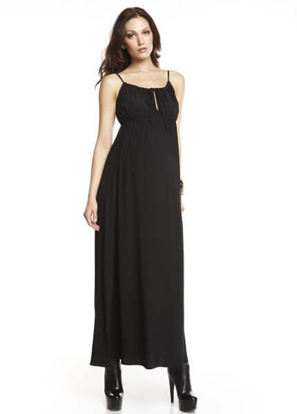 Queen Bee Olivia Black Silk Maternity Maxi Dress by More of Me