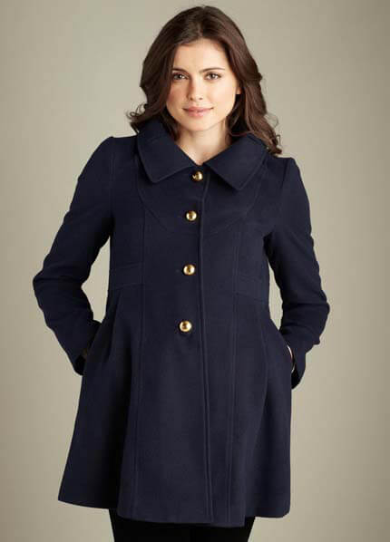 Queen Bee Navy Maternity Pea Coat by Maternal America