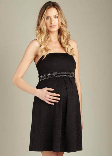 Queen Bee Black Strapless Jewelled Maternity Dress by Maternal America