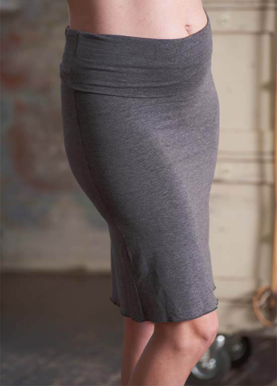 Queen Bee Keira Foldover Grey Maternity Skirt by Floressa Clothing