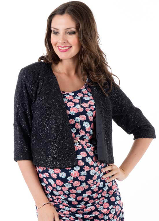 Queen Bee Ruby Maternity Evening Jacket in Black Shimmer by Everly Grey