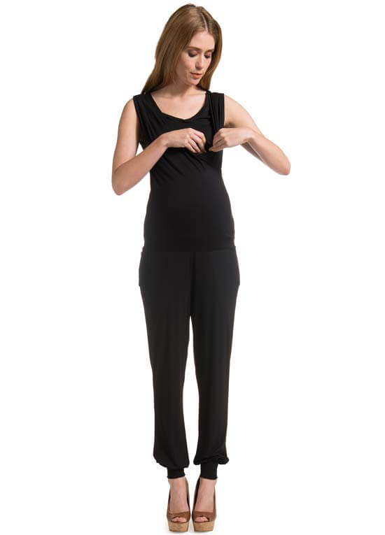 Queen Bee Ina Black Maternity/Nursing Jumpsuit by Noppies
