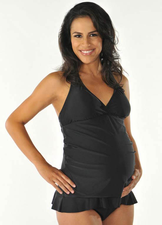 Queen Bee Black Ruffle Maternity Tankini Swimsuit by PregO Swimwear