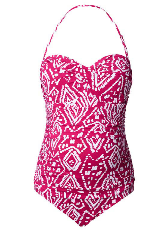 Queen Bee Ikat Maternity One Piece Swimsuit in Pink Print by Noppies