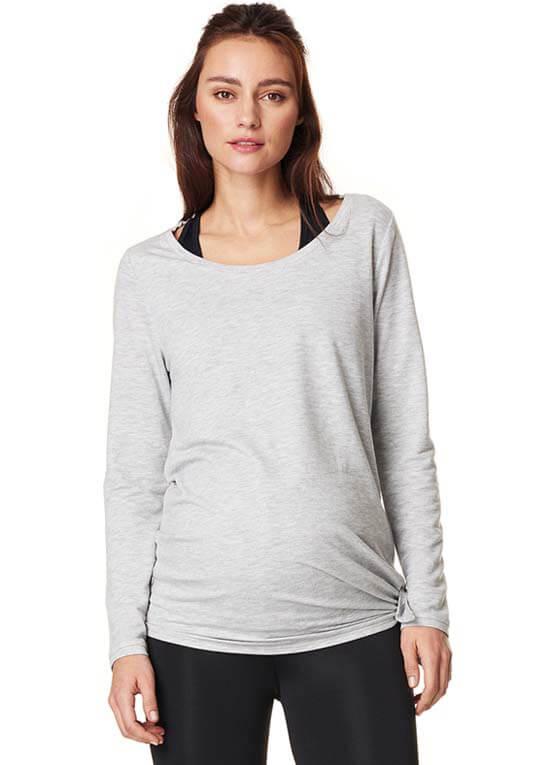 Queen Bee Heather Active Maternity Sweatshirt in Grey by Noppies