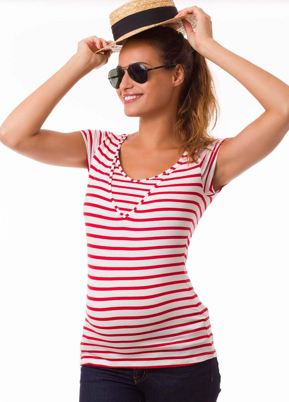 Queen Bee Milkizzy Lise Nursing Top in Red Stripes by Pomkin