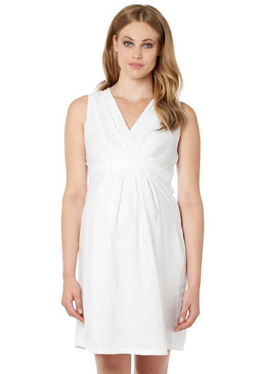 Queen Bee Lima Linen Maternity Dress in White by Noppies