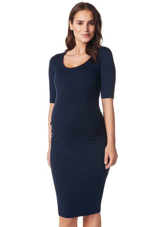 Queen Bee Julie Ruched Maternity Dress in Dark Blue by Noppies