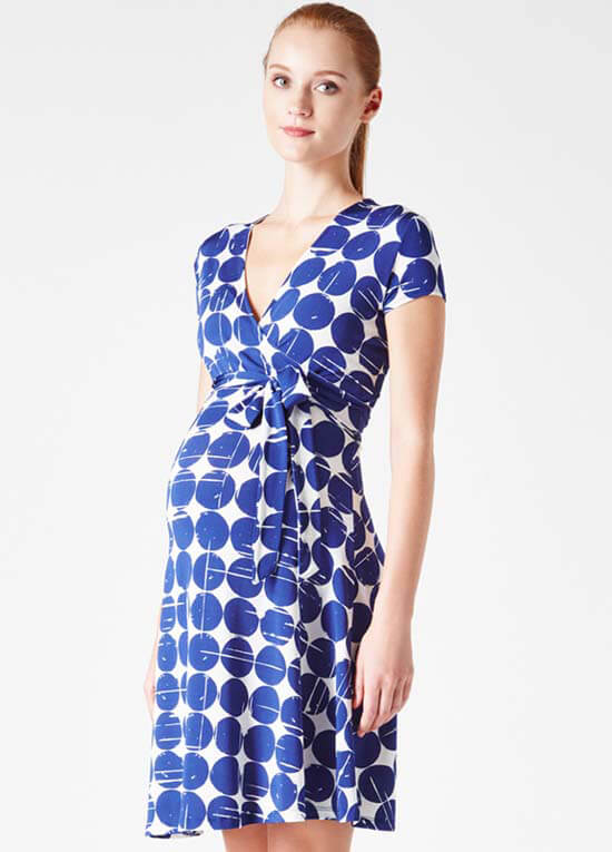 Queen Bee Blue Cafe Print Perfect Wrap Maternity Dress by Leota