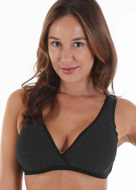 Queen Bee Lucy Maternity Nursing Sleep Bra in Black Mini Dot by Queen Bee