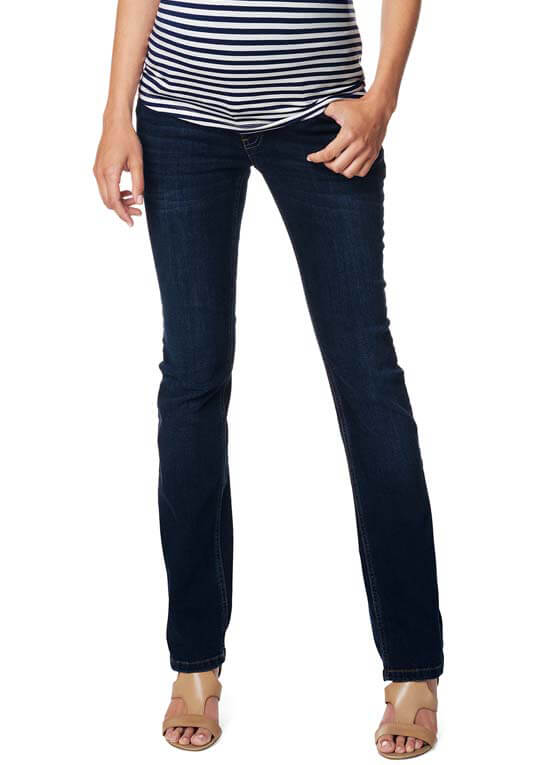 Queen Bee Straight Leg Maternity Jeans in Dark Wash by Esprit