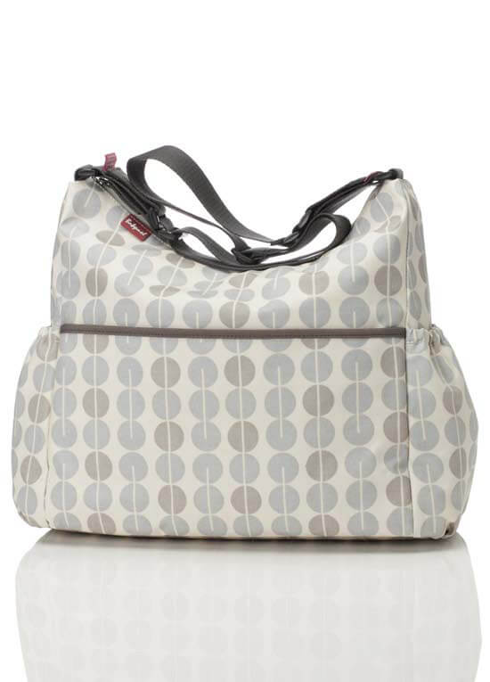 Queen Bee Big Slouchy Nappy Change Bag in Multi Dot Grey Mist by Babymel