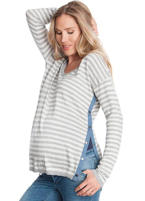 Queen Bee Grey Striped Side Popper Maternity Nursing Jumper by Seraphine
