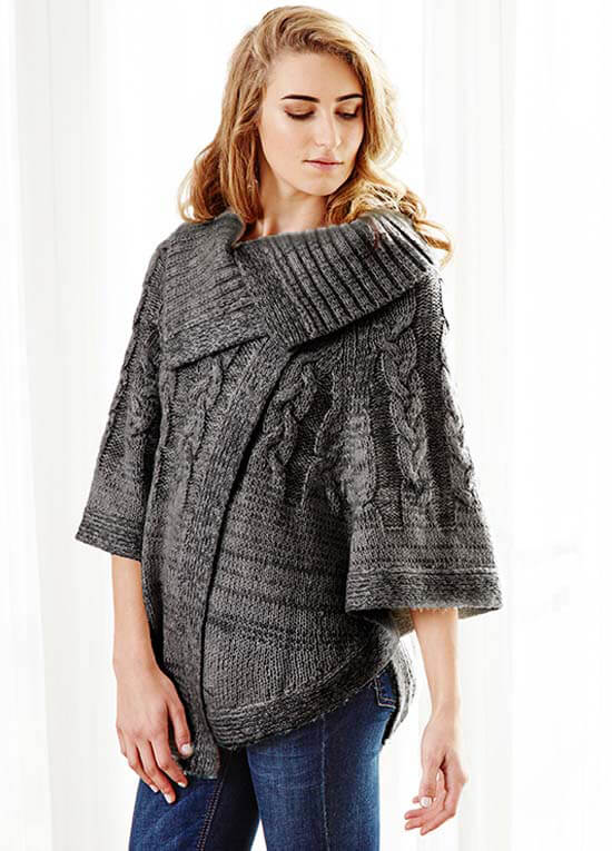 Queen Bee Delilah Cable Knit Maternity Poncho in Charcoal by Deshabille