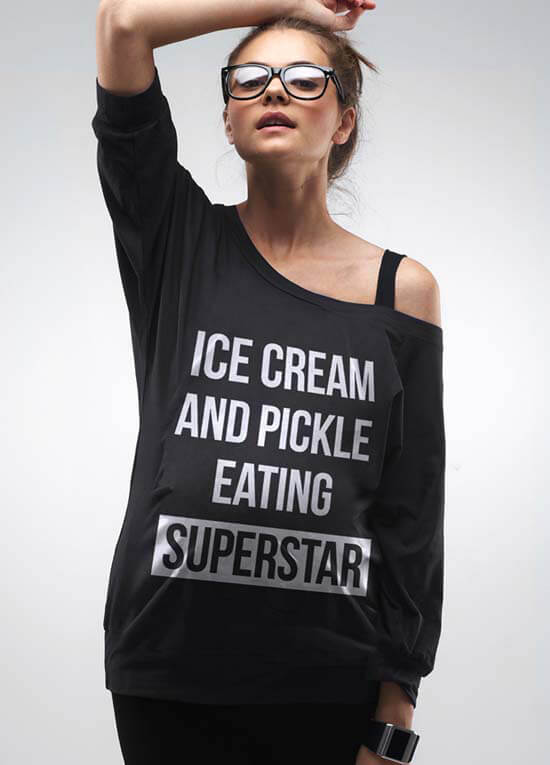 Queen Bee Ice Cream and Pickle Eating Superstar Maternity Top by Mamagama
