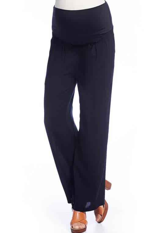 Queen Bee Lightweight Maternity Trousers in Black by Queen mum