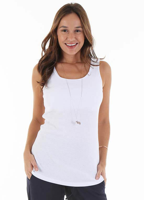 Queen Bee Ty Nursing Tank Top in White by Trimester Clothing