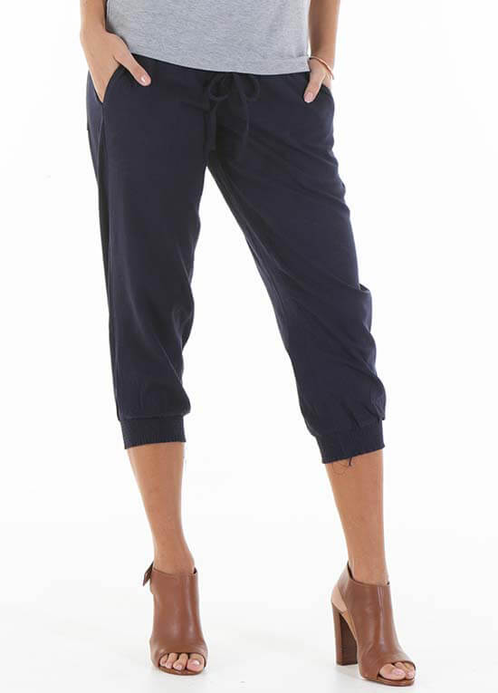 Queen Bee Zackary Navy Maternity Linen Pants by Trimester Clothing