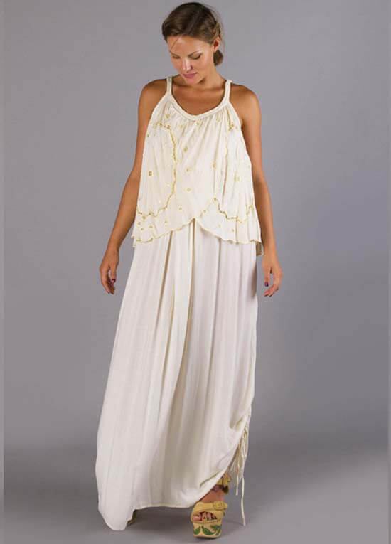 Queen Bee Daffodil Maternity Nursing Maxi Dress in Cream by Fillyboo