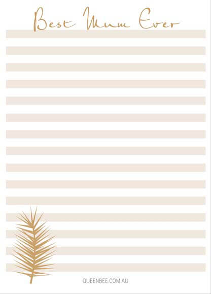 Queen Bee Best Mum Ever Notepad in Gold Stripes by Queen Bee