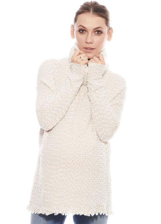 Queen Bee Kiki Maternity Turtleneck Knit Sweater in Cream by Imanimo