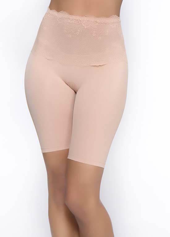 Queen Bee Lauryn Lace Tummy Control Long Leg in Mocha by QT Intimates