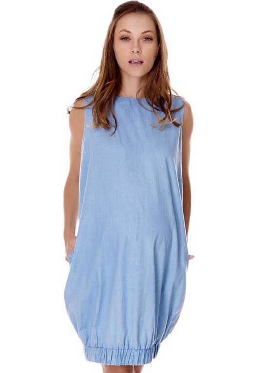 Queen Bee Marianne Maternity Dress in Chambray by Imanimo